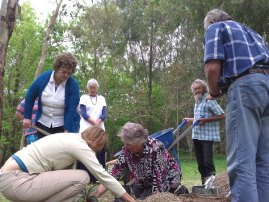 Planting a fig tree in Steve's honour, one year on.